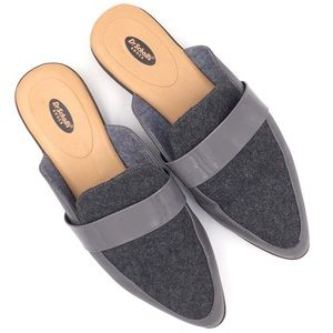 Dr. Scholl's Exact grey wool slip-on mules flats